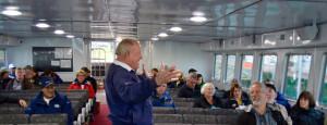 Capt. Bill Shepler greeted passengers aboard the maiden journey of Miss Margy. (Photo courtesy Sharon Emery, Truscott