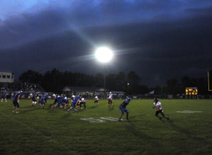 With heavy weather coming in moments later, the Hurons' game at Oscoda came to an early end Friday. (Photo by Richard Lamb)
