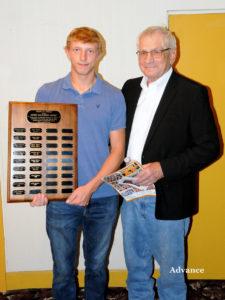 Kaleb Budnick had the thrill of winning the Mark Smolinski Award and the honor of having Smolinski present it to him. (Photo by Richard Lamb)