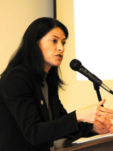 Attorney General Dana Nessel pictured from her talk in Alpena last fall. (Photo by Richard Lamb)
